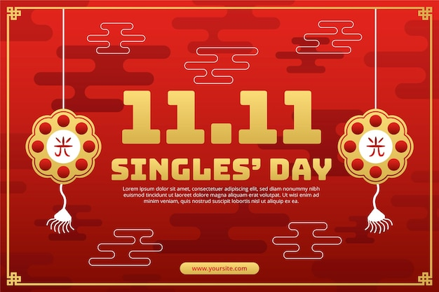 Gradient golden and red single's day background Premium Vector