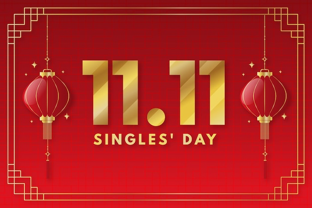 Gradient golden and red single's day background
