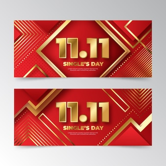 Gradient golden and red single's day horizontal banners set