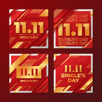 Gradient golden and red single's day instagram posts collection
