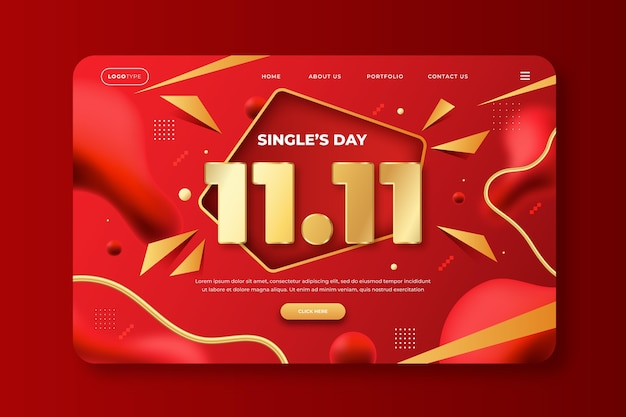 Gradient golden and red single's day landing page template