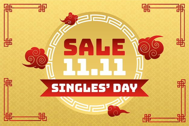 Gradient golden and red single's day sale background