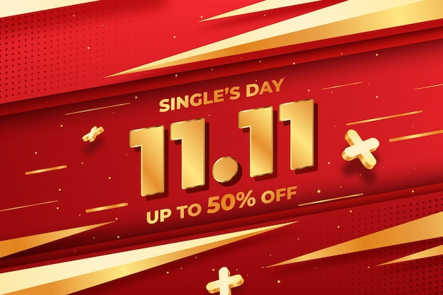 Gradient golden and red single's day sale illustration