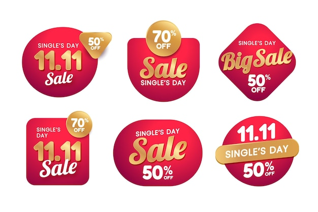 Gradient golden and red single's day sale labels collection