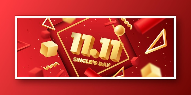 Gradient golden and red single's day social media cover template