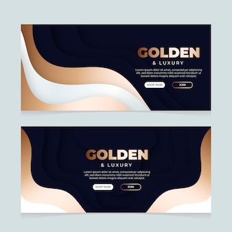 Gradient golden style luxury horizontal banners