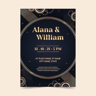Gradient golden wedding invitation
