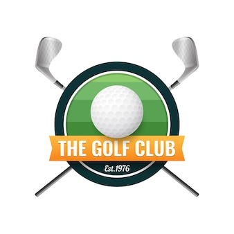 Gradient golf logo template with ball and clubs