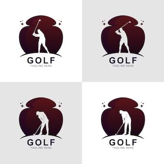 グラデーションゴルフシルエットロゴデザインベクトル