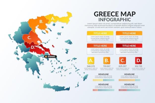 グラデーションギリシャの地図のインフォグラフィック