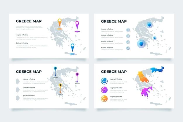 グラデーションギリシャの地図のインフォグラフィック 無料ベクター