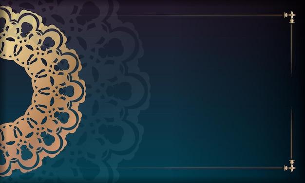 ギリシャの金の装飾品とあなたのロゴのためのスペースとグラデーションの緑の背景