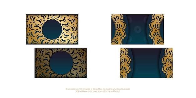 Gradient green business card with abstract gold ornament for your brand.