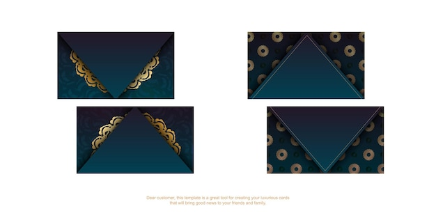 Gradient green business card with abstract gold ornament for your personality.