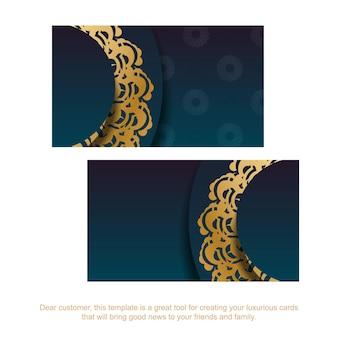 Градиентная зеленая визитка с греческими золотыми украшениями для вашего бизнеса.