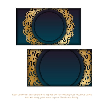 Gradient green business card with greek gold ornaments for your brand.