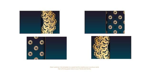 Градиентная зеленая визитка с греческим золотым узором для вашего бренда.