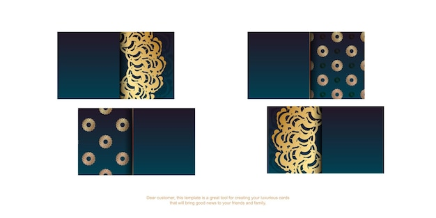 Gradient green business card with greek gold pattern for your brand.