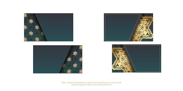 Градиентная зеленая визитка с индийскими золотыми украшениями для ваших контактов.