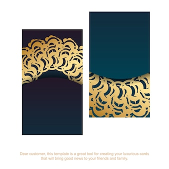 Gradient green business card with indian gold ornaments for your business.