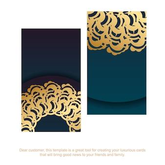 あなたの個性のためのインドの金のパターンのグラデーションの緑の名刺。
