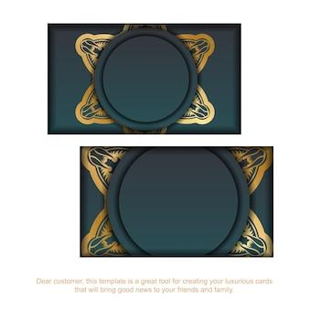 Градиентная зеленая визитка с роскошным золотым орнаментом для вашей индивидуальности.
