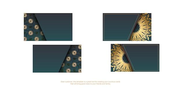 Градиентная зеленая визитка со старинными золотыми украшениями для вашего бизнеса.