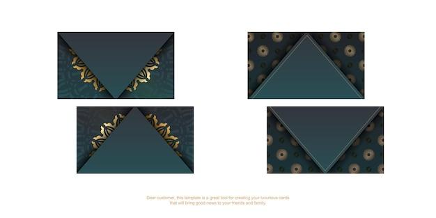 Градиентная зеленая визитка с винтажными золотыми украшениями для вашей индивидуальности.