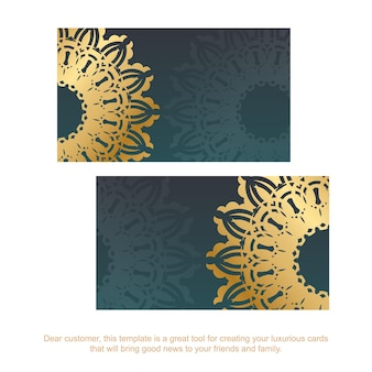 Gradient green business card with vintage gold ornaments for your contacts.