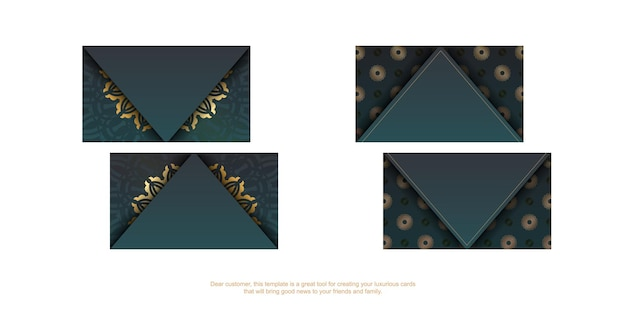 Gradient green business card with vintage gold ornaments for your personality.