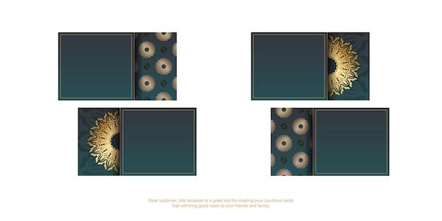 Градиентная зеленая визитная карточка с винтажным золотым узором для вашего бизнеса.