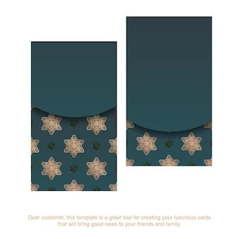 Градиентная зеленая визитка с винтажным золотым узором для вашей личности.