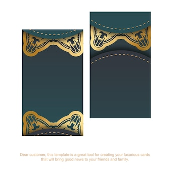 Gradient green business card with vintage gold pattern for your brand.