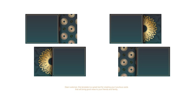 Gradient green business card with vintage gold pattern for your business.