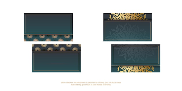 Gradient green business card with vintage gold pattern for your personality.