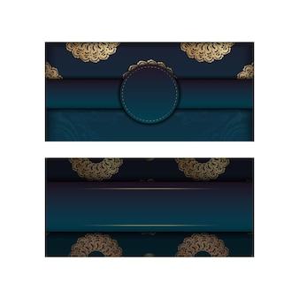 타이포그래피를 위해 준비된 추상 골드 패턴이 있는 그라데이션 녹색 그라데이션 전단지.