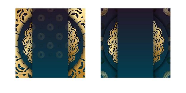 골드 만다라 패턴 인쇄술이 준비된 그라데이션 녹색 그라데이션 전단지.