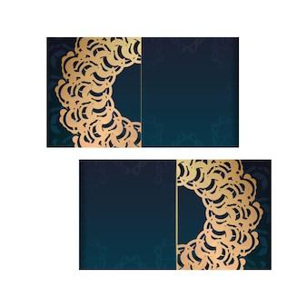 귀하의 브랜드에 대한 인도 금 장신구와 그라데이션 녹색 그라데이션 전단지.