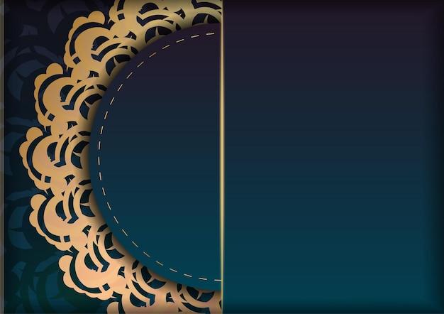축하를 위해 인도 금 장식이 있는 그라데이션 녹색 그라데이션 전단지.