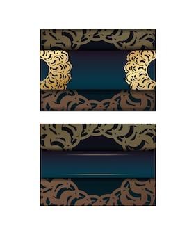 축하를 위해 인디언 골드 패턴이 있는 그라디언트 그린 그라디언트 전단지.