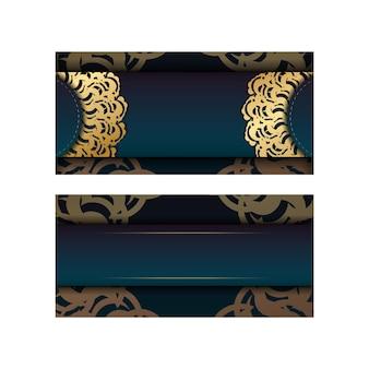 디자인을 위한 인도 골드 패턴이 있는 그라데이션 녹색 그라데이션 전단지.