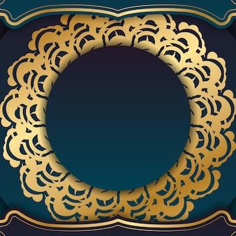 귀하의 브랜드에 대한 만다라 골드 장식이 있는 그라디언트 그린 그라디언트 전단지.