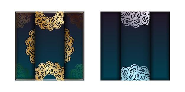 あなたのブランドのためのヴィンテージゴールドの装飾が施されたグラデーショングリーンのグラデーションチラシ。
