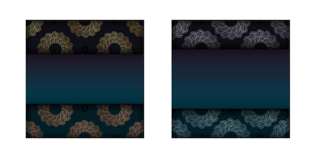 あなたのデザインのためのヴィンテージゴールドの装飾が施されたグラデーショングリーンのグラデーションチラシ。