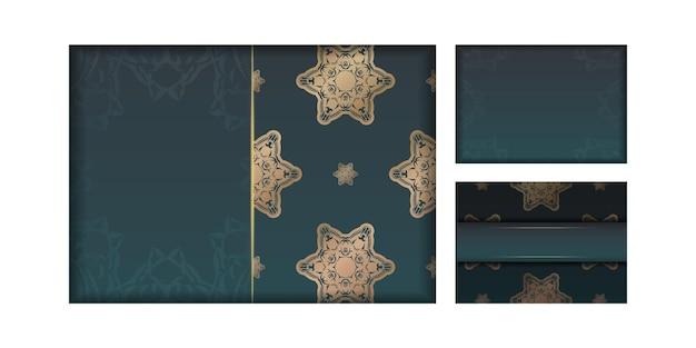 タイポグラフィ用に用意されたヴィンテージゴールドの装飾が施されたグラデーショングリーンのグラデーショングリーティングカード。