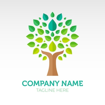 Gradient green life tree logo symbol template