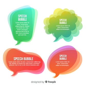 Gradient green and pink speech bubble collection