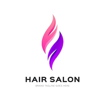 Gradient hair salon logo template