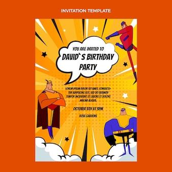 グラデーションハーフトーンの誕生日の招待状のテンプレート