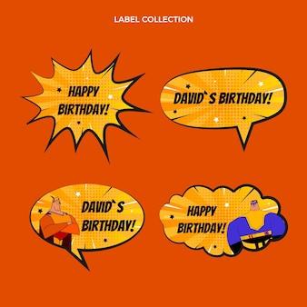 Collezione di etichette di compleanno con mezzitoni sfumati